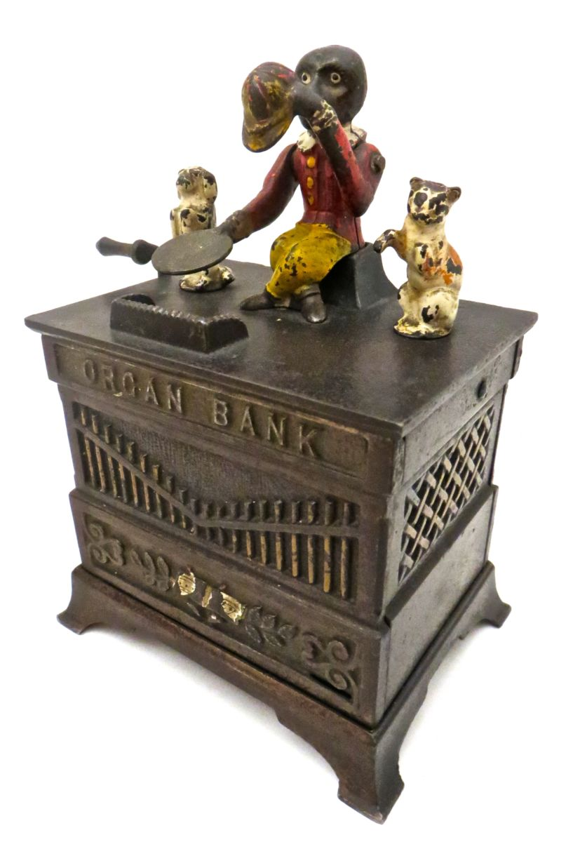 Quot Organ Bank Quot With Cat And Dog Circa 1882 American